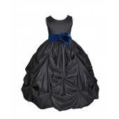 Black/Navy Satin Taffeta Pick-Up Bubble Flower Girl Dress 301S