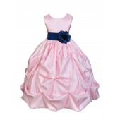 Pink/Navy Satin Taffeta Pick-Up Bubble Flower Girl Dress 301S