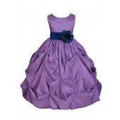 Purple/Navy Satin Taffeta Pick-Up Bubble Flower Girl Dress 301S
