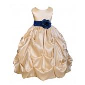 Champagne/Navy Satin Taffeta Pick-Up Bubble Flower Girl Dress 301S