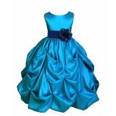 Turquoise/Navy Satin Taffeta Pick-Up Bubble Flower Girl Dress 301S