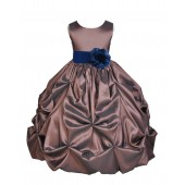 Brown/Navy Satin Taffeta Pick-Up Bubble Flower Girl Dress 301S
