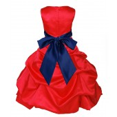 Red/Navy Blue Satin Pick-Up Bubble Flower Girl Dress Christmas 806S