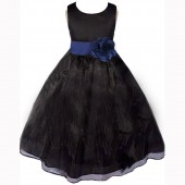 Black/Navy Satin Bodice Organza Skirt Flower Girl Dress 841T