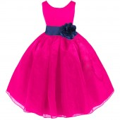Fuchsia/Navy Satin Bodice Organza Skirt Flower Girl Dress 841T