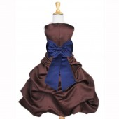 Brown/Navy Blue Satin Pick-Up Bubble Flower Girl Dress Occasions 808T