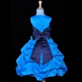 Turquoise/Navy Blue Satin-Pick-Up Bubble Flower Girl Dress Recital 808T