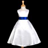 White/Navy A-Line Satin Flower Girl Dress Wedding Bridal 821S