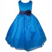 Royal Blue/Navy Satin Bodice Organza Skirt Flower Girl Dress 841T
