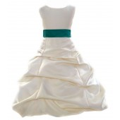 Ivory/Oasis Satin Pick-Up Bubble Flower Girl Dress Bridesmaid 806S