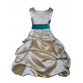 Gold/Oasis Satin Pick-Up Bubble Flower Girl Dress Dazzling 806S