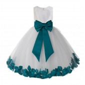 Ivory / Oasis Floral Lace Heart Cutout Flower Girl Dress with Petals 185T