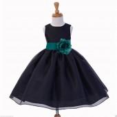 Black/Oasis Satin Bodice Organza Skirt Flower Girl Dress 841S