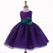 Purple/Oasis Satin Bodice Organza Skirt Flower Girl Dress 841S