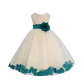 Ivory/Oasis Tulle Rose Petals Flower Girl Dress Recital 302a