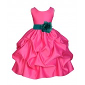 Fuchsia/Oasis Satin Pick-Up Flower Girl Dress Recital 208T