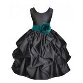 Black/Oasis Satin Pick-Up Flower Girl Dress Formal 208T