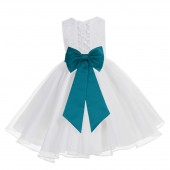 White / Oasis Lace Organza Flower Girl Dress 186T