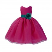 Fuchsia / Oasis Satin Bodice Organza Skirt Flower Girl Dress Birthday 841S