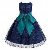 Navy / Oasis Floral Lace Overlay Flower Girl Dress Lace Dresses 163s