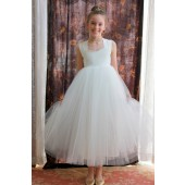 Ivory Sweetheart Neck Cotton Top Tutu Flower Girl Dress 171