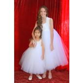 White Sweetheart Neck Cotton Top Tutu Flower Girl Dress 171