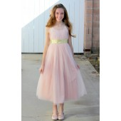 Gold / Blush Sweetheart Neck Crossed Straps A-Line Flower Girl Dress 173
