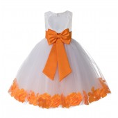Ivory / Orange Floral Lace Heart Cutout Flower Girl Dress with Petals 185T