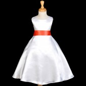 White/Orange A-Line Satin Flower Girl Dress Wedding Bridal 821S