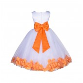 White/Orange Lace Top Tulle Floral Petals Flower Girl Dress 165T