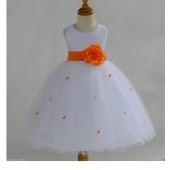 Orange Rosebuds Satin Tulle Flower Girl Dress Special Occasions 815S
