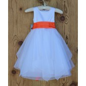 White/Orange Satin Bodice Shimmering Organza Flower Girl Dress J012