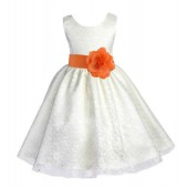 Ivory/Orange Floral Lace Overlay Flower Girl Dress Special Event 163S