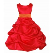 Red/Orange Satin Pick-Up Bubble Flower Girl Dress Christmas 806S