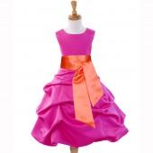 Fuchsia/Orange Satin Pick-Up Bubble Flower Girl Dress V2 806S