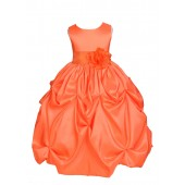 Orange/Orange Satin Taffeta Pick-Up Bubble Flower Girl Dress 301S