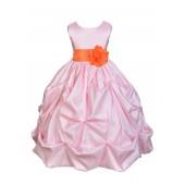 Pink/Orange Satin Taffeta Pick-Up Bubble Flower Girl Dress 301S