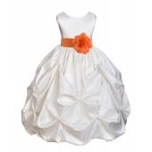 Ivory/Orange Satin Taffeta Pick-Up Bubble Flower Girl Dress 301T