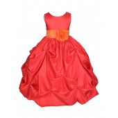 Red/Orange Satin Taffeta Pick-Up Bubble Flower Girl Dress 301S