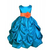 Turquoise/Orange Satin Taffeta Pick-Up Bubble Flower Girl Dress 301S