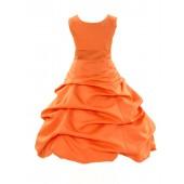 Matching Orange Satin Pick-Up Bubble Flower Girl Dress 806S
