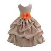 Champagne/Orange Satin Pick-Up Flower Girl Dress Party 208T