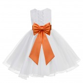White / Orange Lace Organza Flower Girl Dress 186T