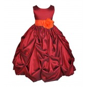 Apple / Orange Satin Taffeta Pick-Up Bubble Flower Girl Dress 301S