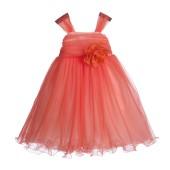 Orange Rattail Edge Tulle Flower Girl Dress Pretty Princess 117NF