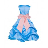 Turquoise/Peach Satin Pick-Up Bubble Flower Girl Dress Recital 806S