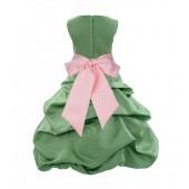 Clover Green/Peach Satin Pick-Up Bubble Flower Girl Dress 806S