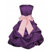 Purple/Peach Satin Pick-Up Bubble Flower Girl Dress Easter 806S