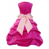 Fuchsia/Peach Satin Pick-Up Bubble Flower Girl Dress Elegant 806S
