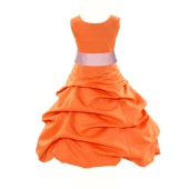 Orange/Peach Satin Pick-Up Bubble Flower Girl Dress Halloween 806S